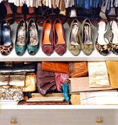 organized shoes in a closet