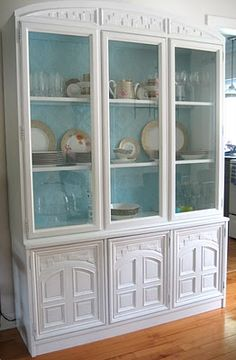 How to paint a china cabinet decor, cabinet makeovers, idea, china cabinets, china hutch painted, painting china cabinet, hous, furnitur, blues