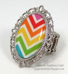 Rainbow chevron cocktail ring with Epiphany Crafts