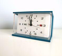 mid century modern calendar clock starburst desk clock aquamarine