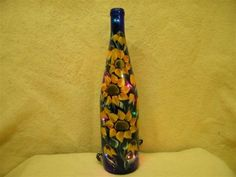 Hand painted blue, Sunflower wine bottle with lights