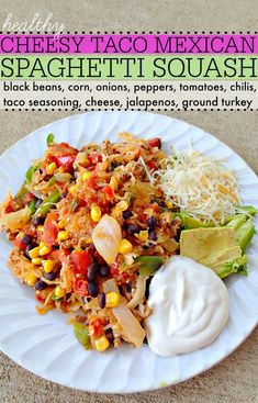 healthy cheesy taco Mexican spaghetti squash!