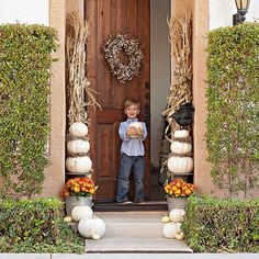 Frame your doorframe with white pumpkins: http://www.bhg.com/halloween/outdoor-decorations/outdoor-halloween-decorating-with-pumpkins/?socsrc=bhgpin092914whitepumpkindoorframe&page=11