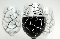 Spooky Black and White Trees. Hand-painted wine glasses by Mary Elizabeth Arts.