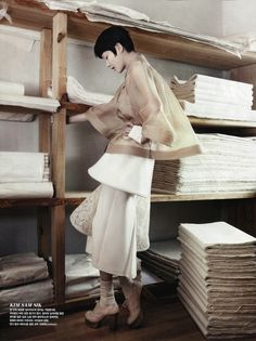 """Fashion into Crafts"": Lee Hyun-Yi, Lee Hye-Jung, Song Kyung-Ah, and Park Seraand with Traditional Korean Crafts by Kang Hyea-Won for Vogue Korea August 2013"