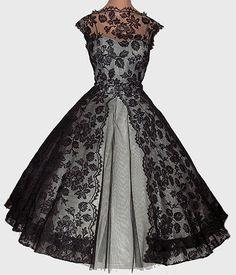 ~Vintage 50s Full Skirt Party Dress~