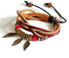 Leather and ropes ,tibetan silver ,wood beads metal bracelet  $7.98, via Etsy.