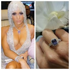 Here's Jennifer Lopez posing in her incredible 129 carat purple sapphire necklace - with just a hint of fiance Alex Rodriguez's lilac jacket peeking in. As luck would have it, we've just acquired in the store a stunning natural color purple sapphire ring, which we matched with a white flower in tribute to JLo's fringed Versace. Interested? Stop by to see this beauty and have your JLo moment. Or call us at (516) 222-7879.