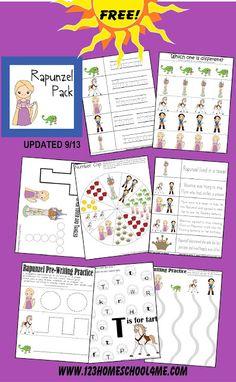 FREE Rapunzel worksheets for kids 2-7 years old #preschool #printables #princess