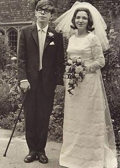 English theoretical physicist, cosmologist, and author Stephen Hawking and Jane Wilde on their wedding day in 1965.  He left Jane in 1991 for his nurse Elaine Mason, who he was married to from 1995-2006.  After divorcing Elaine he resumed closer relationships with Jane, his three children, and grandchildren.