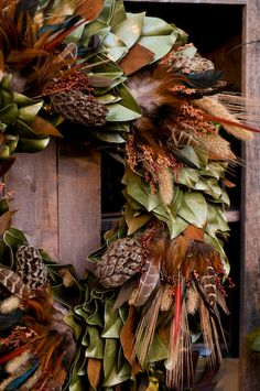 fall wreath w/ pinecones
