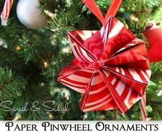 Under The Table and Dreaming: Paper Pinwheel Ornaments featuring Kim from Sand & Sisal {Handmade Ornament No.7}