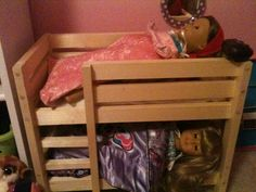My dad made this bunk bed for American Girl dolls.