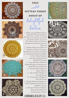 10 Free Crochet Patterns, Delightful Doilies...these are gorgeous!