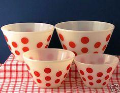 mixing bowls, polka dots, red, vintage, christmas eve, fire king, dot bowl, pyrex, white kitchens