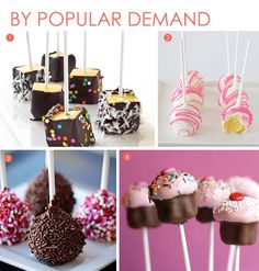 Cake pops: a fad, but perhaps worth trying. Would be cute for a party. There are more cake pop designs on the website, too.
