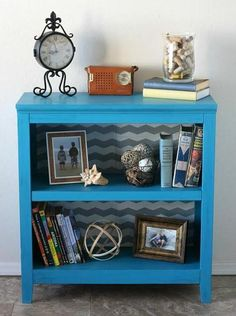 Turquoise and chevron work together to update a drab bookcase.  @Michael Dussert Sullivan Stores @DecoArt Inc. Inc. Inc. #chevron #chalkyfinish #chalkpaint