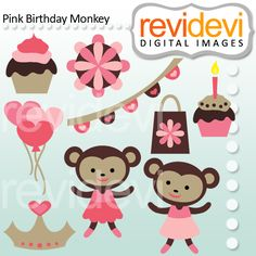 Pink Birthday Monkey - birthday clipart for your craft and creative projects.