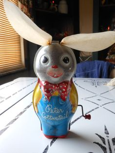 Vintage Tin Toy Rabbit Peter Cottontail by Mattel, FOUND IT!!! I HAD THIS  LOVED IT!!!  From http://foudak.com/mattel/