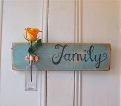 Wall Flower Vase, Family, Antique Bottle, Copper Hanger, Spring, Home Decor, Light Blue Chalk Paint. $39.95, via Etsy.