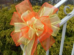 Yellow and Tangerine / orange Wedding/ Pew by creativelycarole, $50.00