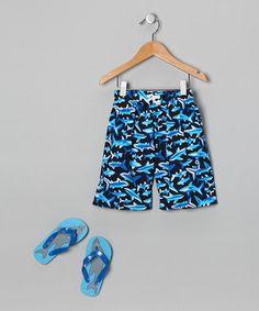 Blue Shark Boardshorts & Flip-Flops
