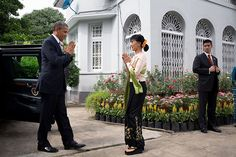 """""""I am proud to be the first American president to visit this spectacular country and I am very pleased that one of my first stops is to visit with an icon of democracy who has inspired so many people not just in this country but all around the world."""" – President Barack Obama with Aung San Suu Kyi in Burma (Official White House Photo by Pete Souza)"""