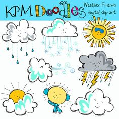 COMBO Weather Friends Digital Clip art clipart by kpmdoodles, $5.75