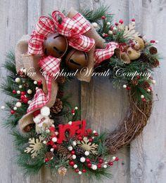 christma wreath, holiday wreaths, whimsical christmas, christma decor, jingle bells, country christmas decorations, country christmas wreaths, christmas snowman, christmas door