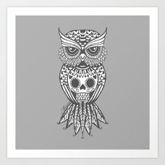 Grey sugar skull owl by Missa Designs