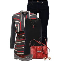 Striped Cardigan, created by kswirsding on Polyvore