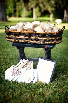 Love this idea! Wedding #programs that double as #fans. Your guests will thank you during a hot #summer wedding! {Olivia Lott Photography}
