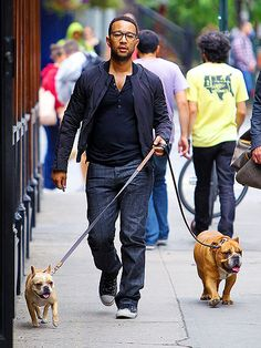 John Legend gets his spexy on while taking his two cute pups for a stroll