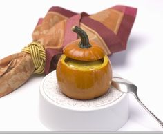 """Great fall recipe from Holland America.  The pumpkin """"bowls"""" can roast while the turkey is resting. Though the traditional jack-o'-lantern variety of pumpkin is fine for the bowls, use any other variety, even butternut squash, for the soup."""