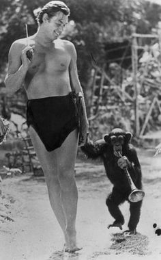 Johnny Weissmuller as (the best ever) Tarzan with Cheetah