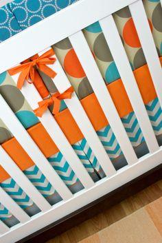 Gray, Aqua, Orange Tan Baby Boy Nursery, Khaki Cool | Modified Tot
