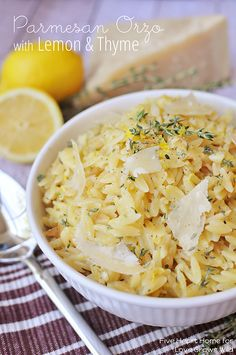 Creamy Parmesan Orzo with Lemon and Thyme - a perfect summer side dish! | LoveGrowsWild.com