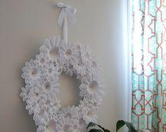Christmas doilie wreath
