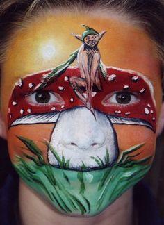 Mushroom Fairy facepaint, mushroom fairi