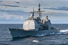 USS San Jacinto approaches the amphibious assault ship USS Kearsarge  for a fueling at sea. by Official U.S. Navy Imagery, via Flickr