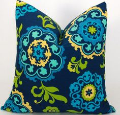 Navy Blue and Lime Green Pillow Cover.