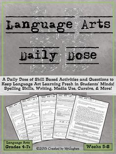 SET 2- Weeks 5-8! If you're looking for an extensive, spiraling, language arts resource to help your students be lifelong learners, than you have come to right place. Language Arts Daily Dose is designed to teach a skill over 5 days with the student asked to do more each day. ($)