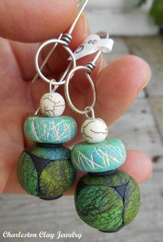 www.charlestonclayjewelry.com Rustic Stone Bead drops