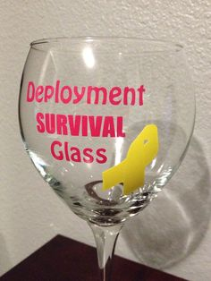 Deployment survival wine glass, Military Spouse, Military Gift