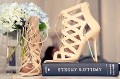 Lace up booties, Nude/Tan