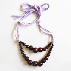 Double Strand Necklace in Chocolate & Lavender . by TheJonesMarket, $25.00