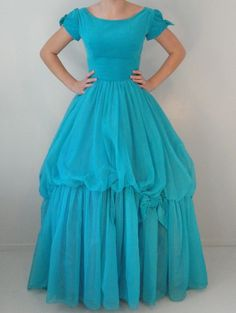 Turquoise Velvet and Organza Vintage Ball Gown 1950s Size 6 Extra Small on Etsy, $168.50