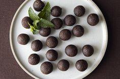 Raw Mint Chocolate Truffles with Almonds and Sea Salt