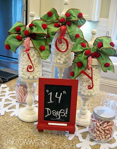 holiday, christmas countdown, apothecary jars, christma decor, diy project, kitchen counters, chalkboard, christmas ideas, candy jars