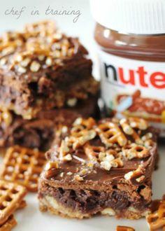 Nutella pretzel brownies!